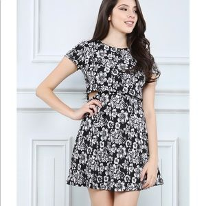 Papaya Black and White Flower Dress with Cutouts